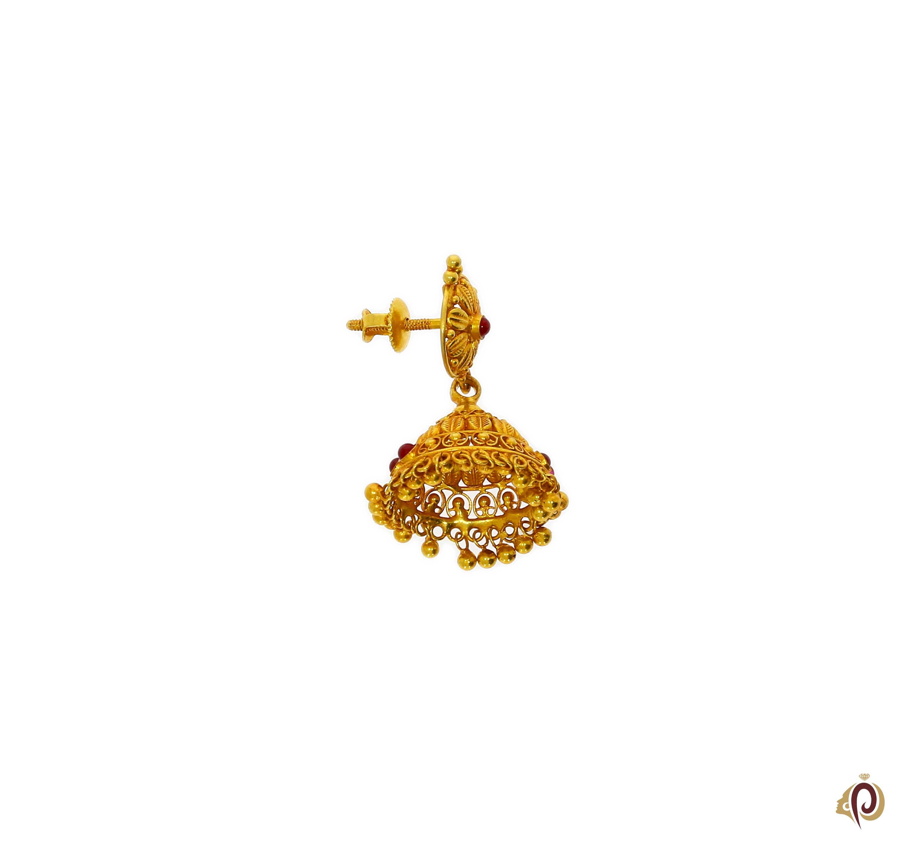 Clipart pune gold earrings freeuse stock Beautyful Designer Red Stone Golden Zumka Tops freeuse stock