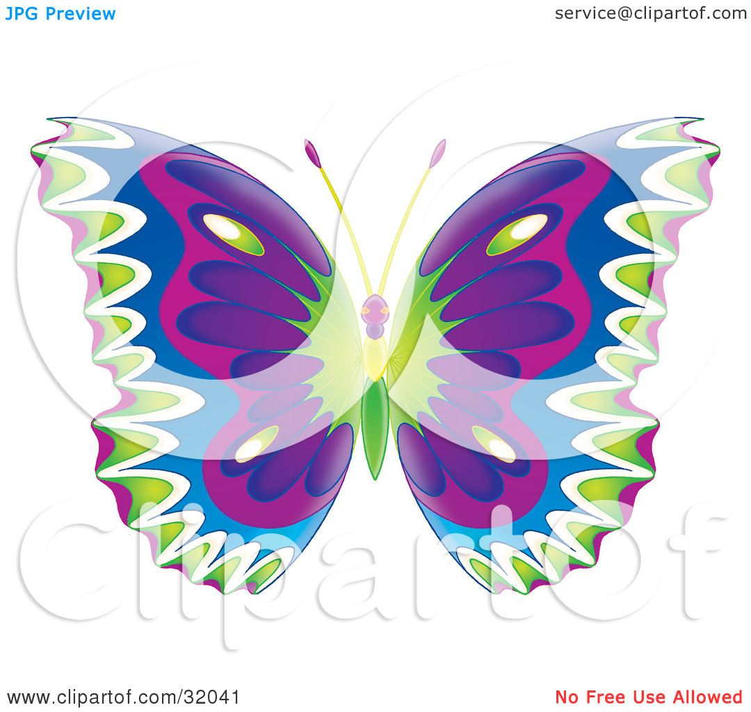 Clipart purple butterfly with hearts on wings clip art Clipart Illustration of a Colorfully Patterned Butterfly With ... clip art