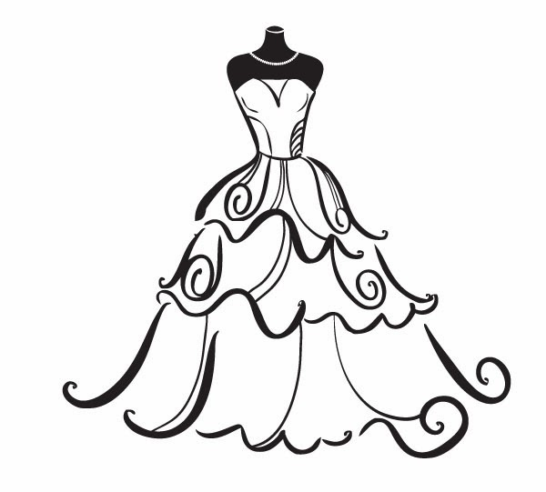 Princess dress clipart black and white freeuse stock 9+ Quinceanera Clip Art | ClipartLook freeuse stock