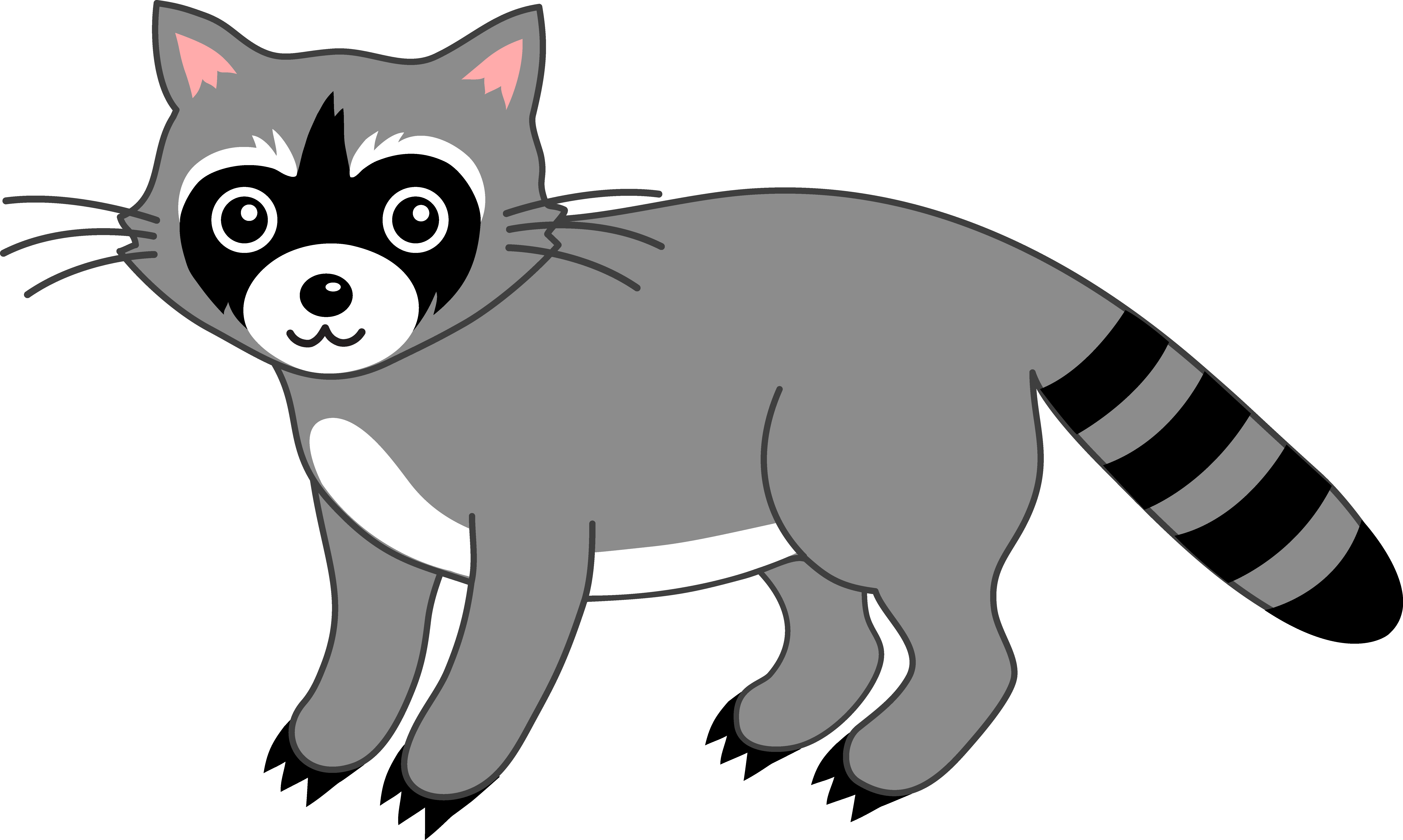 Raccoons clipart svg black and white library Cute Grey Raccoon - Free Clip Art svg black and white library