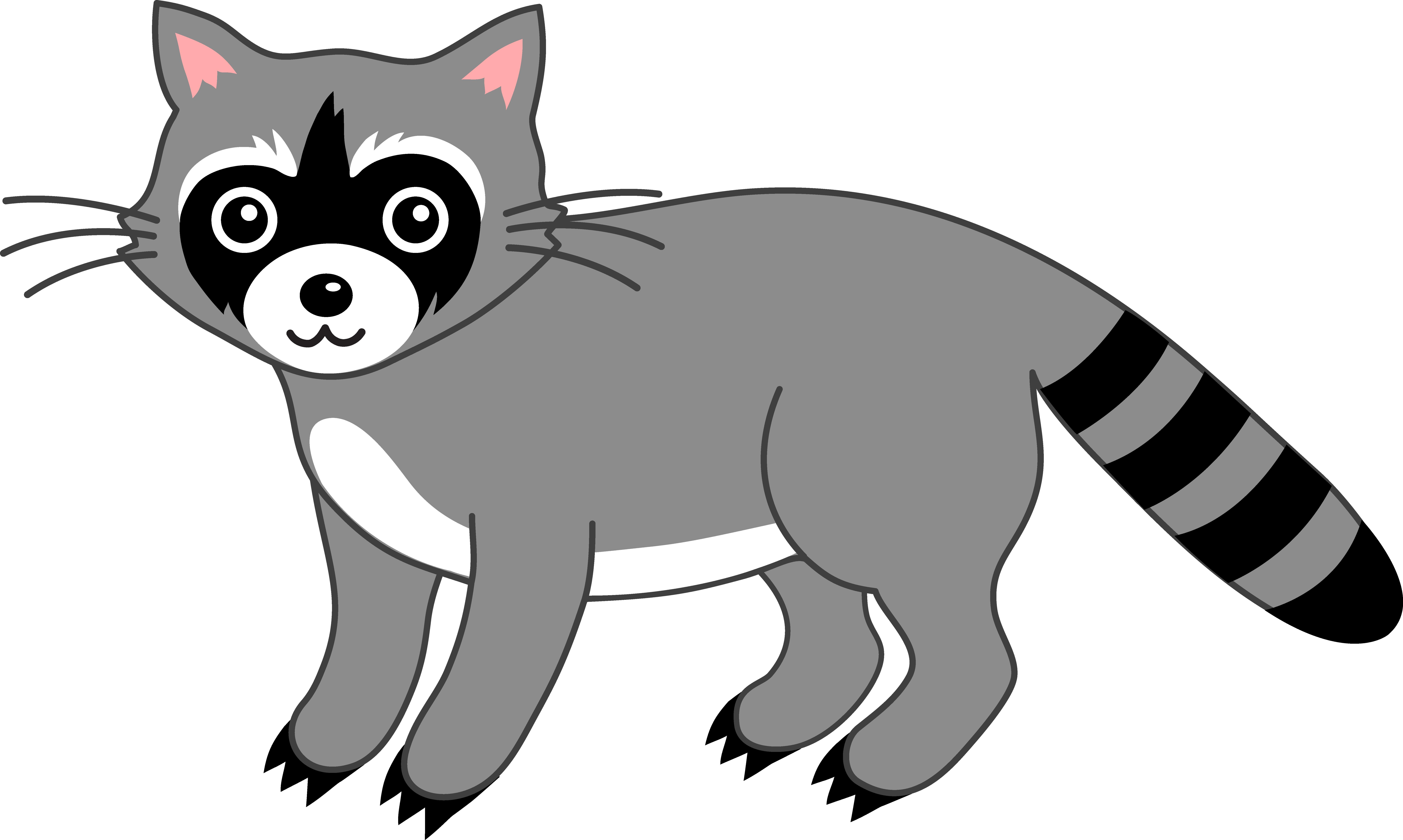 Cute Grey Raccoon - Free Clip Art clip transparent download