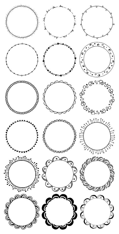 Clipart rahmen jpg free stock Runde Rahmen Clipart. Handgezeichnete Kreise Clipart. Blumen, Boho ... jpg free stock
