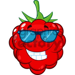 Clipart raspberry face clip stock Royalty Free RF Clipart Illustration Smiling Raspberry Fruit Cartoon Mascot  Character With Sunglasses Vector Illustration Isolated On White Background  ... clip stock