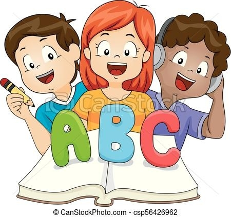 Reading and writing clipart png black and white library Kids Listen Read Write Learn Book Illustration. Illustration Of Kids ... png black and white library