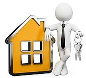 Illustrations and agents isolated. Clipart real estate agent