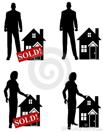 Clipart real estate agent vector library Real Estate Agent With Sold Sign And Houses Stock Photography ... vector library