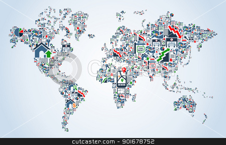 Clipart real world map image freeuse stock Property service icons World map stock vector image freeuse stock