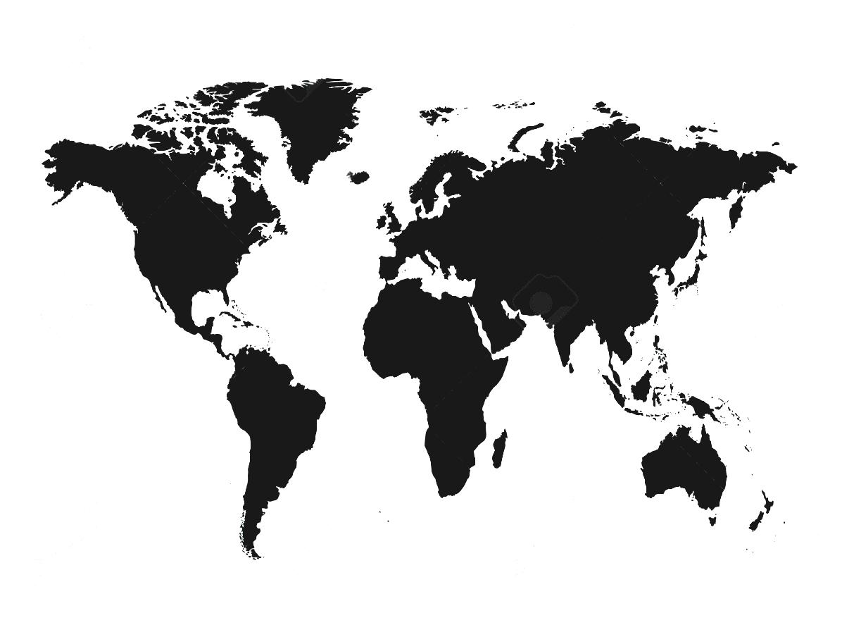 Clipart real world map vector free stock World Map Black And White To Represent Countries Continents Stock ... vector free stock