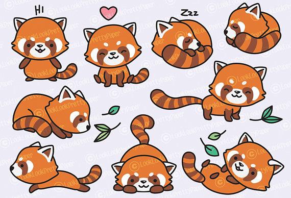Clipart red panda clip art library Premium Vector Clipart - Kawaii Red Pandas - Cute Red Panda Clipart ... clip art library