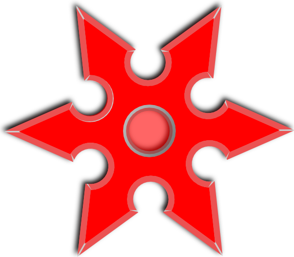 Clipart red star black and white library Red Throwing Star Clip Art at Clker.com - vector clip art online ... black and white library