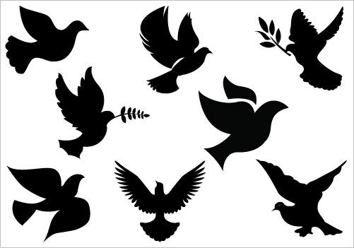 Clipart religious general black and white clip freeuse Dove clip art Pack   SILHOUETTES   Silhouette clip art, Clip art ... clip freeuse