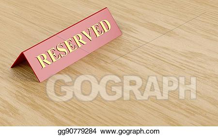 Clipart reserved sign svg black and white Clipart - Reserved sign on table. Stock Illustration gg90779284 ... svg black and white