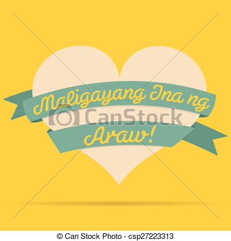 Clipart ribbon in logo format banner free download Vector Clip Art of Tagalog Happy Mother's Day heart with ribbon ... banner free download