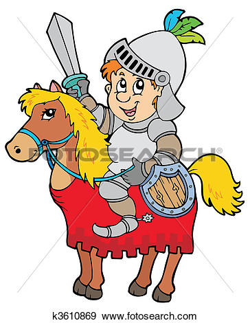 Clipart ritter clipart royalty free stock Clip Art of Cartoon knight sitting on horse k3610869 - Search ... clipart royalty free stock