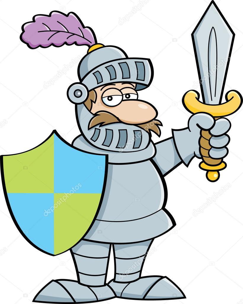 Clipart ritter kostenlos black and white stock Cartoon Ritter mit Schwert und Schild — Stockvektor © kenbenner ... black and white stock