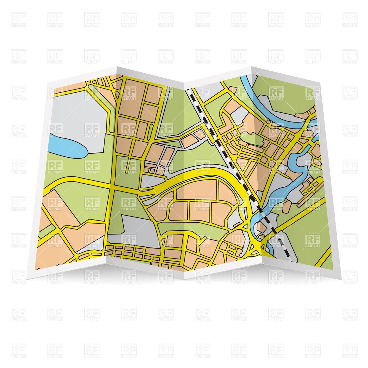Clipart road map banner transparent download Folded road map clipart - ClipartFest banner transparent download