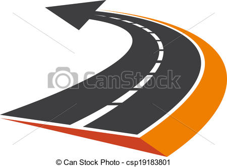 Clipart road with an arrow svg black and white download Vector Clipart of Curved tarred road with an arrow pointer ... svg black and white download