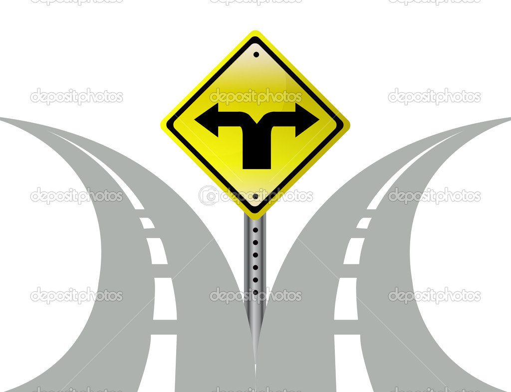 Clipart road with an arrow image black and white download Split Road Clipart - Clipart Kid image black and white download