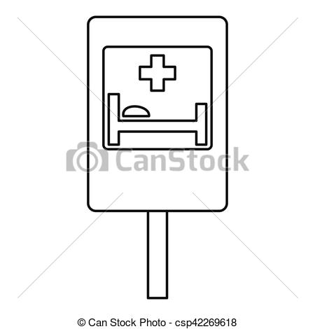 Clipart roadsign 18 graphic Vector Clip Art of Hospital road sign icon, outline style ... graphic