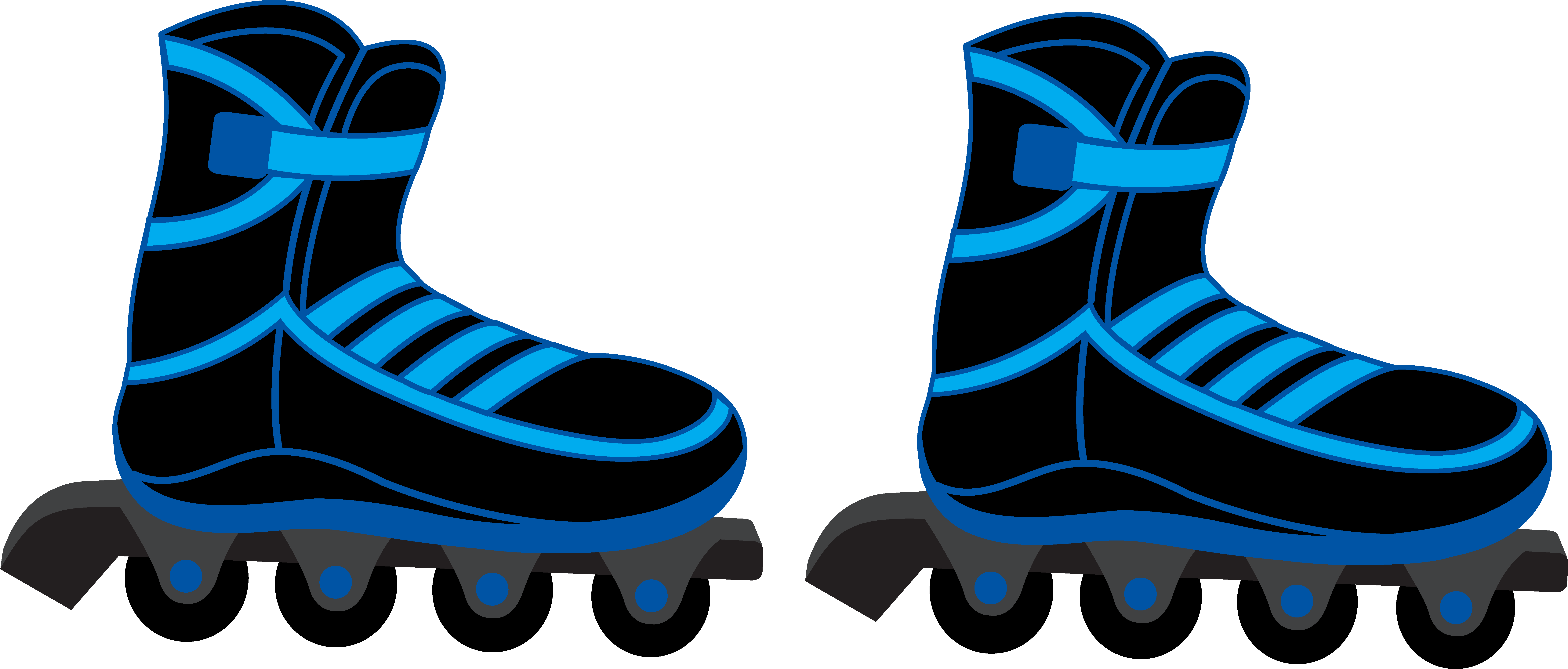 Clipart rollerblades clip royalty free stock Cool Blue and Black Rollerblades - Free Clip Art clip royalty free stock