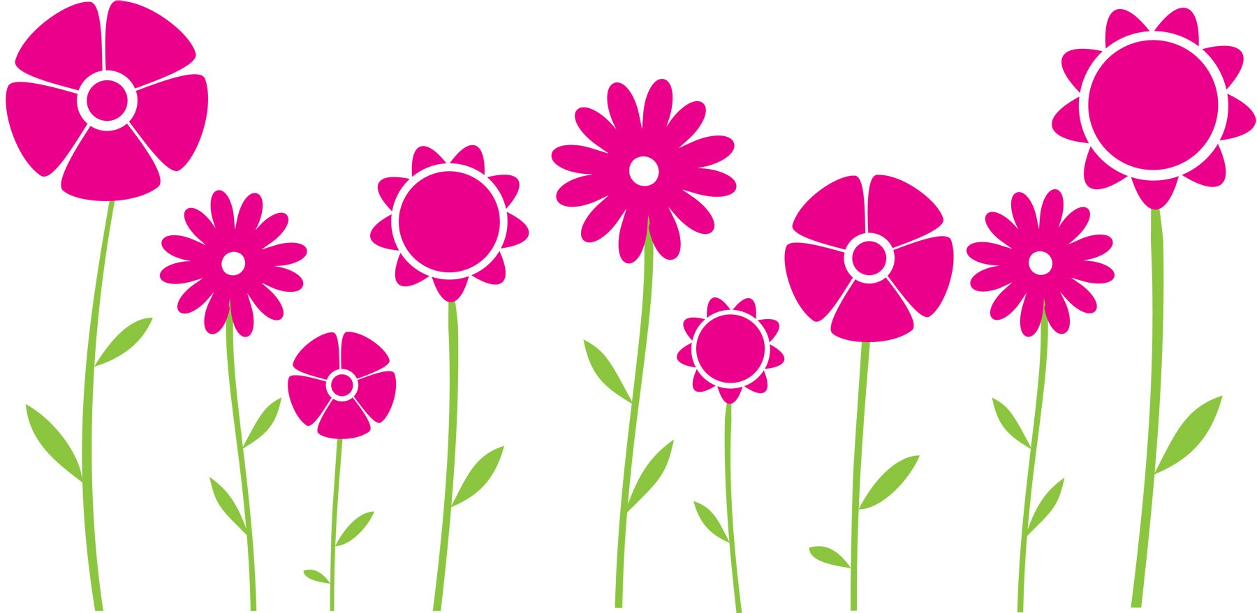 Row of flowers clipart - ClipartFest image transparent