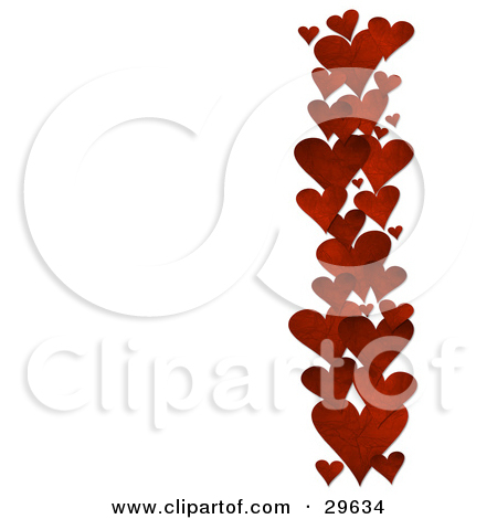 Clipart row of hearts picture royalty free download Clipart Illustration of a Row Of Red Textured Hearts Along The ... picture royalty free download