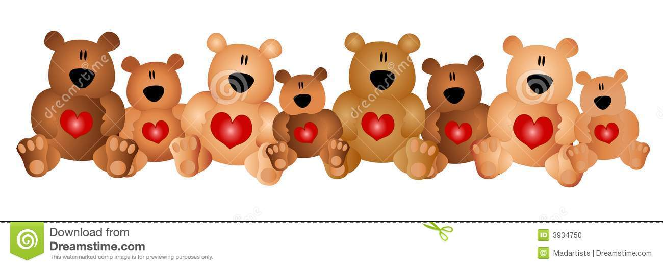 Clipart row of hearts jpg library download Row Of Cute Teddy Bears With Hearts Stock Photo - Image: 3934750 jpg library download