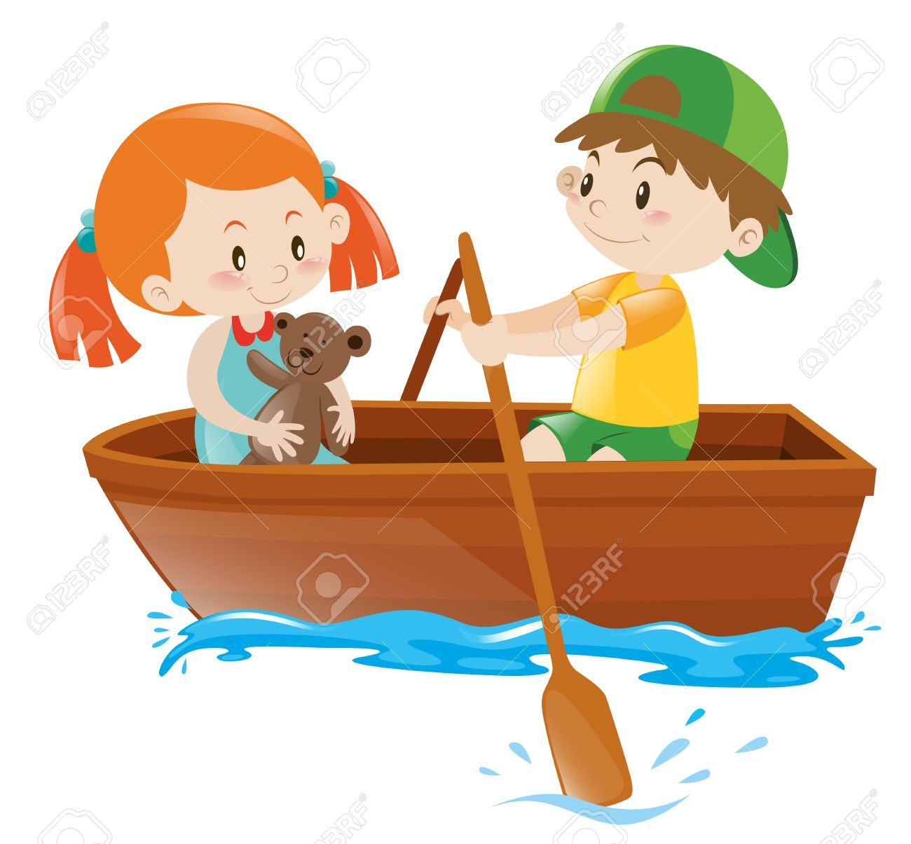 Clipart rowing boat clip transparent stock Boy rowing boat with girl as passenger » Clipart Station clip transparent stock