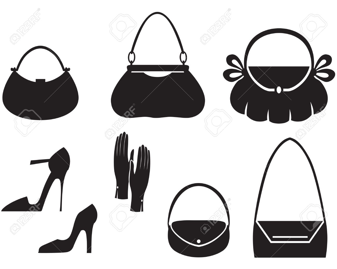 Clipart sac a main jpg royalty free download Silhouette Of Handbag Seamless Pattern Royalty Free Cliparts ... jpg royalty free download