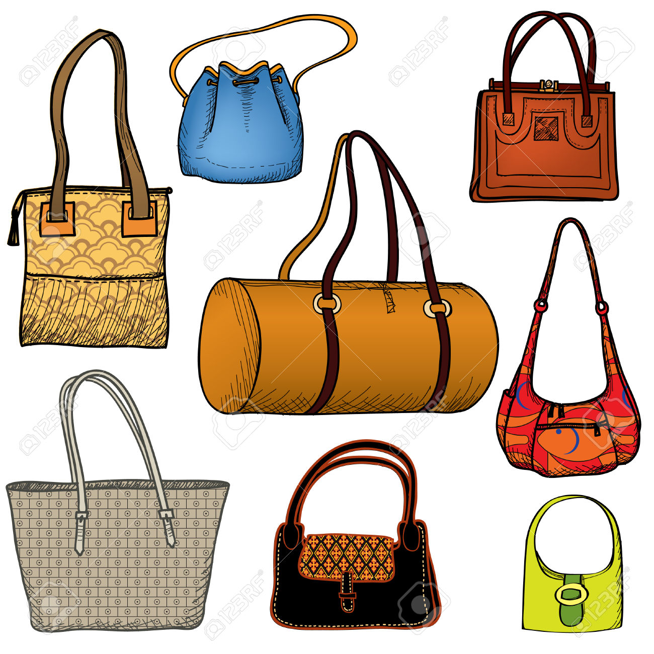 Clipart sac a main stock Handbags. Fashion Bag Set. Female Purse Collection. Royalty Free ... stock