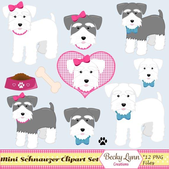Clipart schnauzer clipart library download Miniature Schnauzer Dog Clip Art Set - Dog Digital Art - Dog ... clipart library download