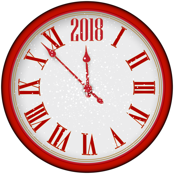 2018 New Year Red Clock Tree PNG Clip Art | Gallery Yopriceville ... clip art free library