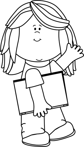 Clipart school girl in black and white png royalty free download Black and White Black and White Girl with Book Waving | Library ... png royalty free download