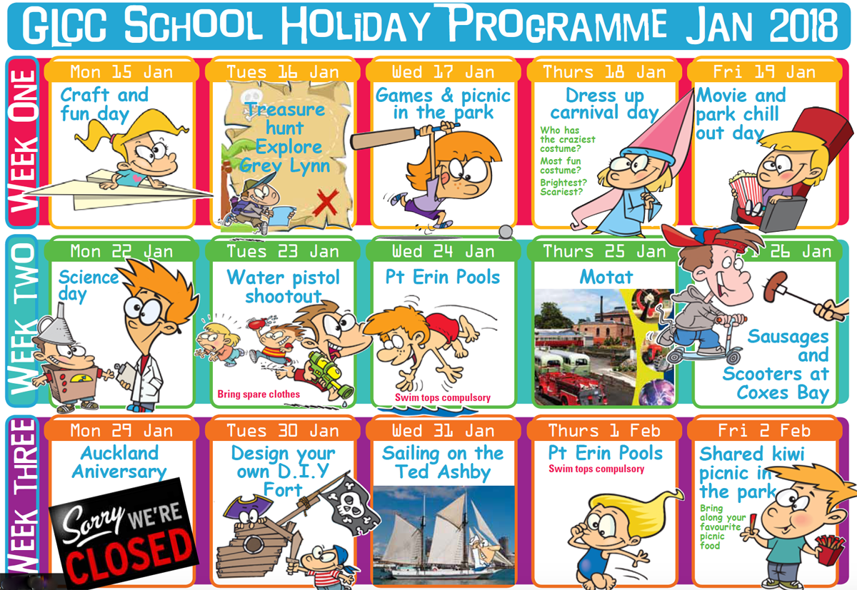 Clipart school holidays 2018 clip free library Summer Holidays Programme 2018 | Grey Lynn Community Centre clip free library