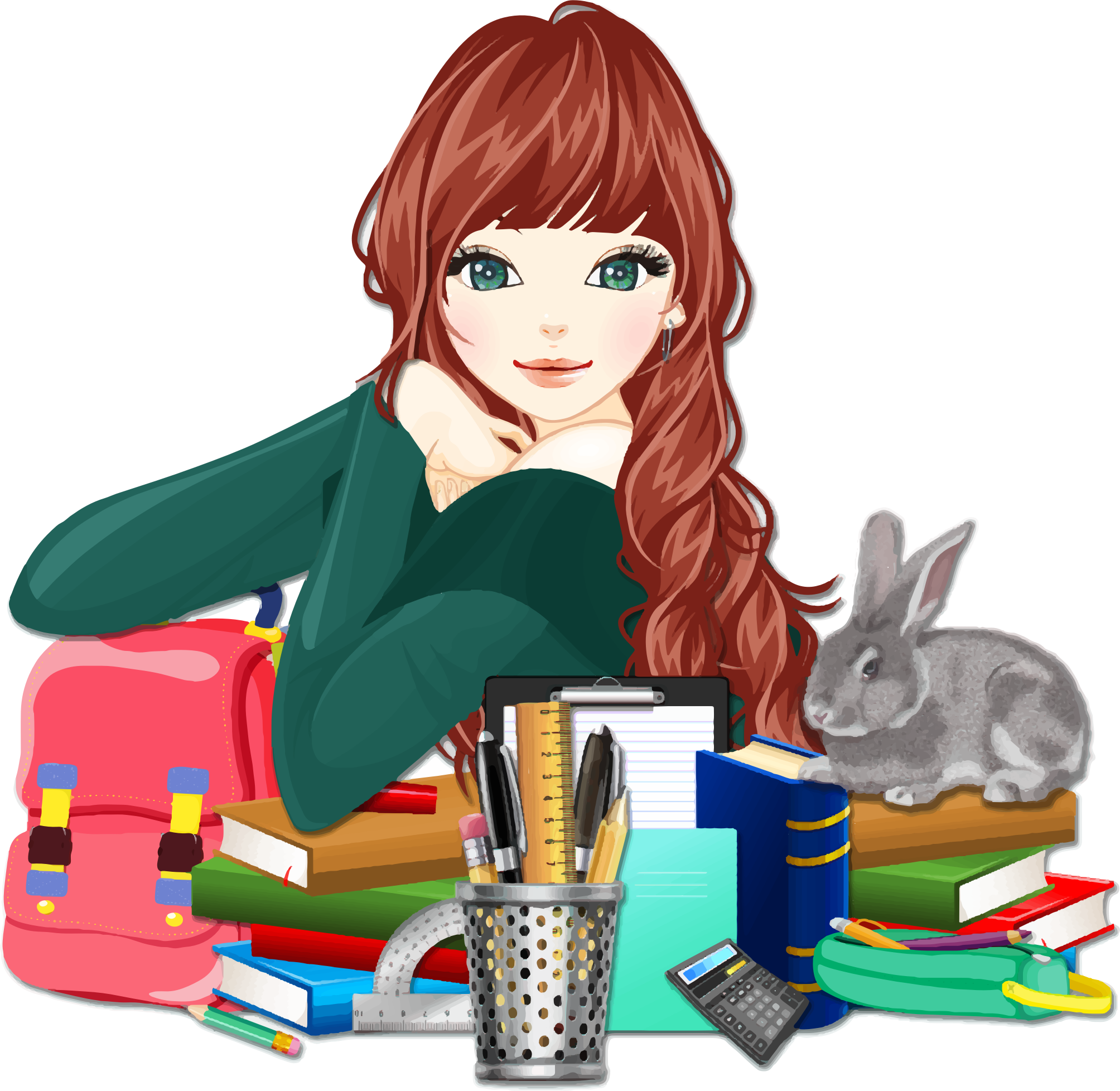 Clipart school pictures png library Clipart - School Girl With Rabbit png library