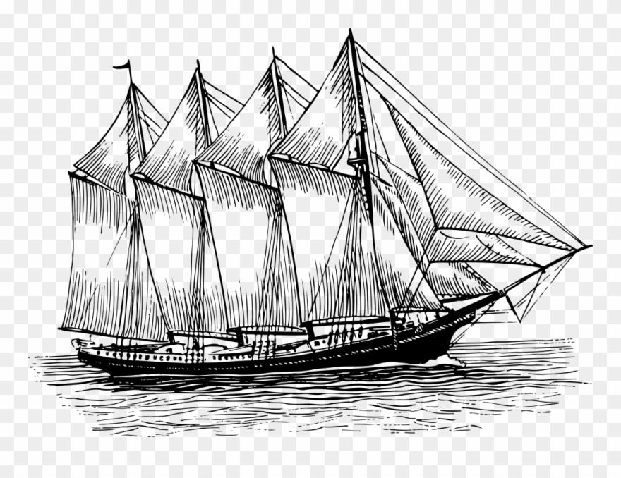 Clipart schooner clipart transparent library Onlinelabels Clip Art - Schooner Line Art - Png Download (#17976 ... clipart transparent library