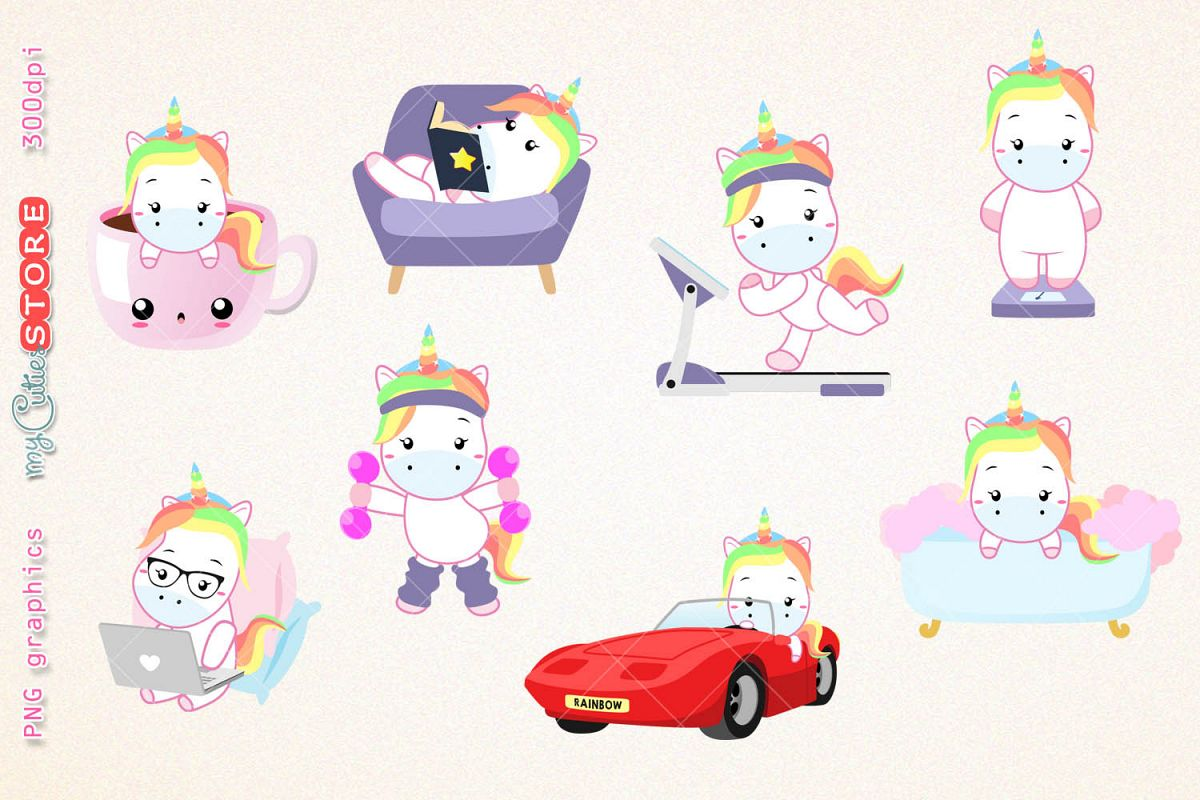 Clipart scraps vector free stock Kawaii unicorns clipart, PNG graphics collection, treadmill, coffee, bath  time, reading, great for planner stickers or scraps. vector free stock