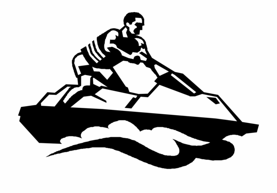 Clipart sea-doo black and white freeuse Vector Illustration Of Water Sports Jet Skier On Sea-doo - Clip Art ... freeuse