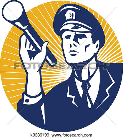 Clipart security image black and white stock Clipart of American Policeman Security Guard Retro k16851505 ... image black and white stock