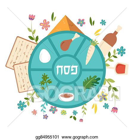 Clipart seder vector freeuse download Vector Clipart - Passover seder plate with floral decoration ... vector freeuse download