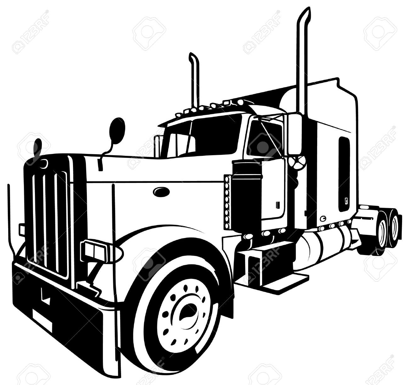 Clipart semi picture black and white library Semi truck vector Elegant Semi Truck Clipart Black And White ? 101 ... picture black and white library