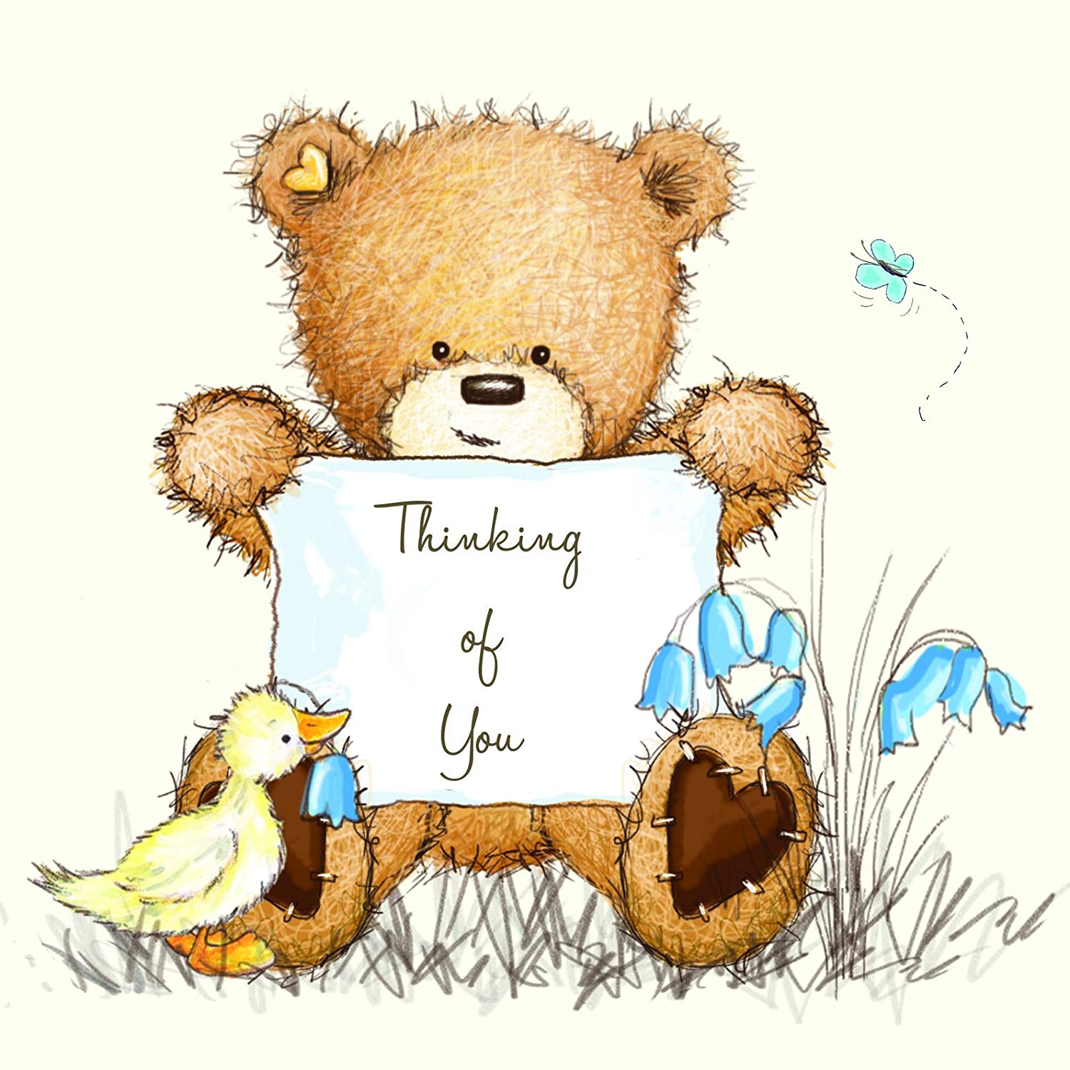 Clipart send a card thinking of you jpg royalty free Twizler Popcorn The Bear Thinking Of You Card - Sorry Card - Cute ... jpg royalty free