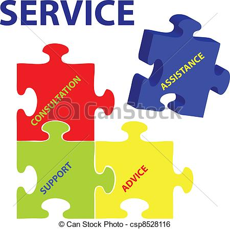 Clip Art Vector of Service Vector - Vector illustration of puzzles ... vector library