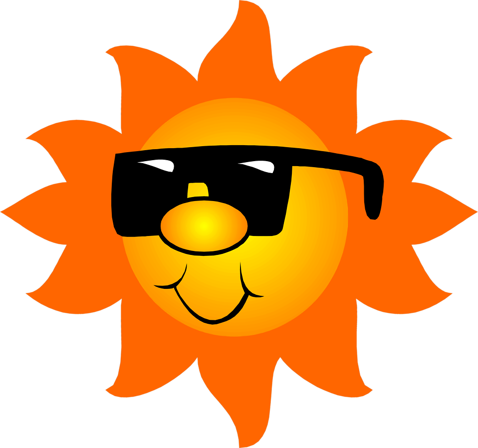 Sun setting clipart clipart black and white download Sun | Free Stock Photo | Illustration of the sun wearing sunglasses ... clipart black and white download