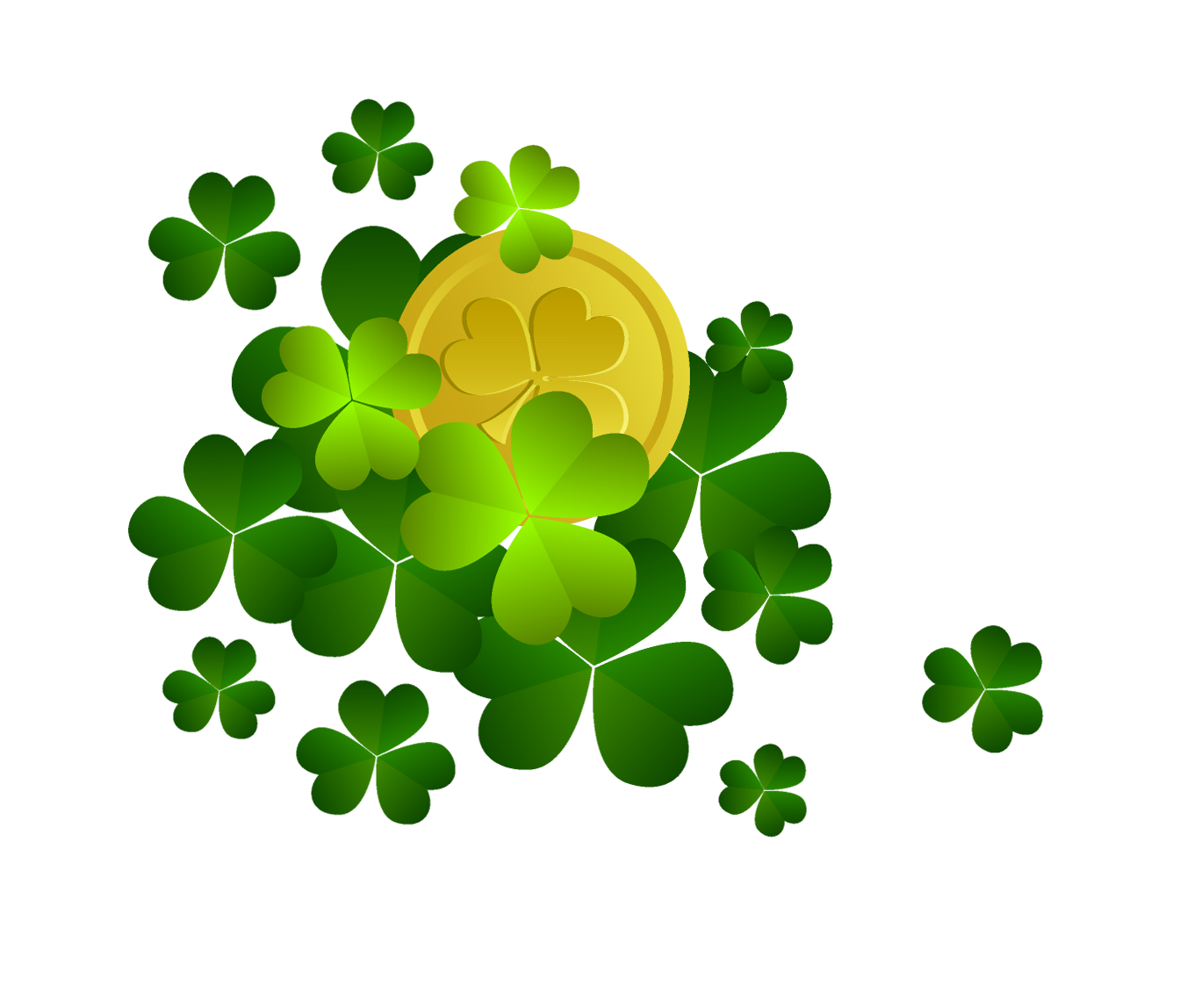 Clipart shamrocks image freeuse stock St Patricks Shamrocks with Coin Decor PNG Clipart | Gallery ... image freeuse stock