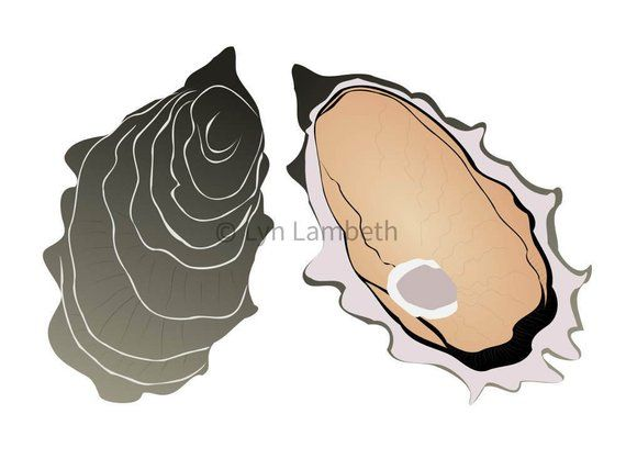 Clipart shellfish picture free stock Oyster clip art instant download SVG digital shellfish | Cricut in ... picture free stock