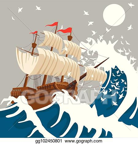 Clipart of a boat in a storm clipart library download Vector Clipart - Sail ship in strong storm in the evening in the ... clipart library download