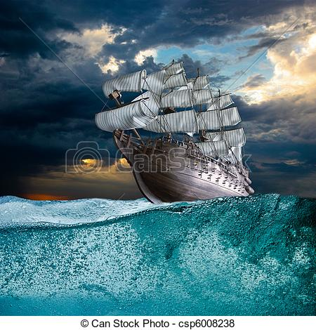 Clipart ship on storm sea image free library Ship storm Clipart and Stock Illustrations. 1,105 Ship storm vector ... image free library