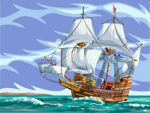 Clipart ship on storm sea vector freeuse stock A Ship Sailing Rough Seas - Royalty Free Clipart Picture vector freeuse stock