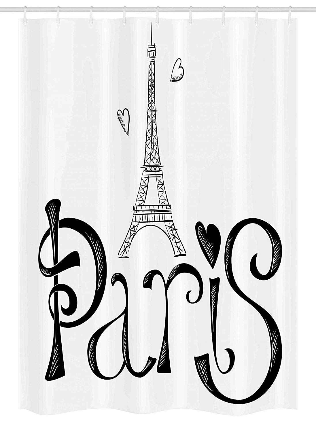 Clipart shower stall realistic black and white free library Ambesonne Paris Stall Shower Curtain, Illustration with Eiffel Tower France  Heart Shapes Silhouette Vacation Theme Art, Fabric Bathroom Decor Set with  ... free library